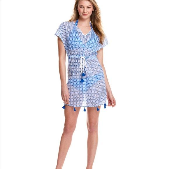 Vineyard Vines Dresses & Skirts - Vineyard Vines Tie Dye Squares Cover Up Tassle